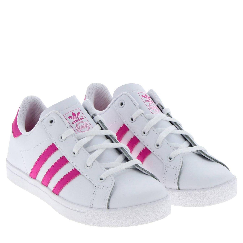 鞋履 Adidas Originals: Adidas Originals Coast star C 真皮三条纹运动鞋 白色 2