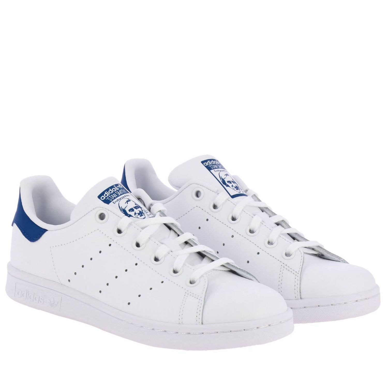 Zapatos Adidas Originals: Zapatillas Stan Smith J Adidas Originals de cuero con tacón en contraste blanco 2