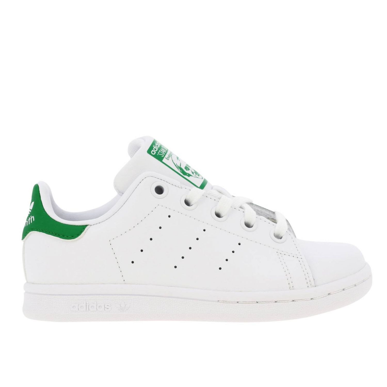 鞋履 Adidas Originals: Adidas Originals Stan Smith C 真皮对比色后跟运动鞋 白色 1