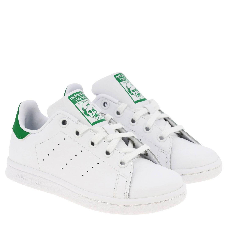 鞋履 Adidas Originals: Adidas Originals Stan Smith C 真皮对比色后跟运动鞋 白色 2