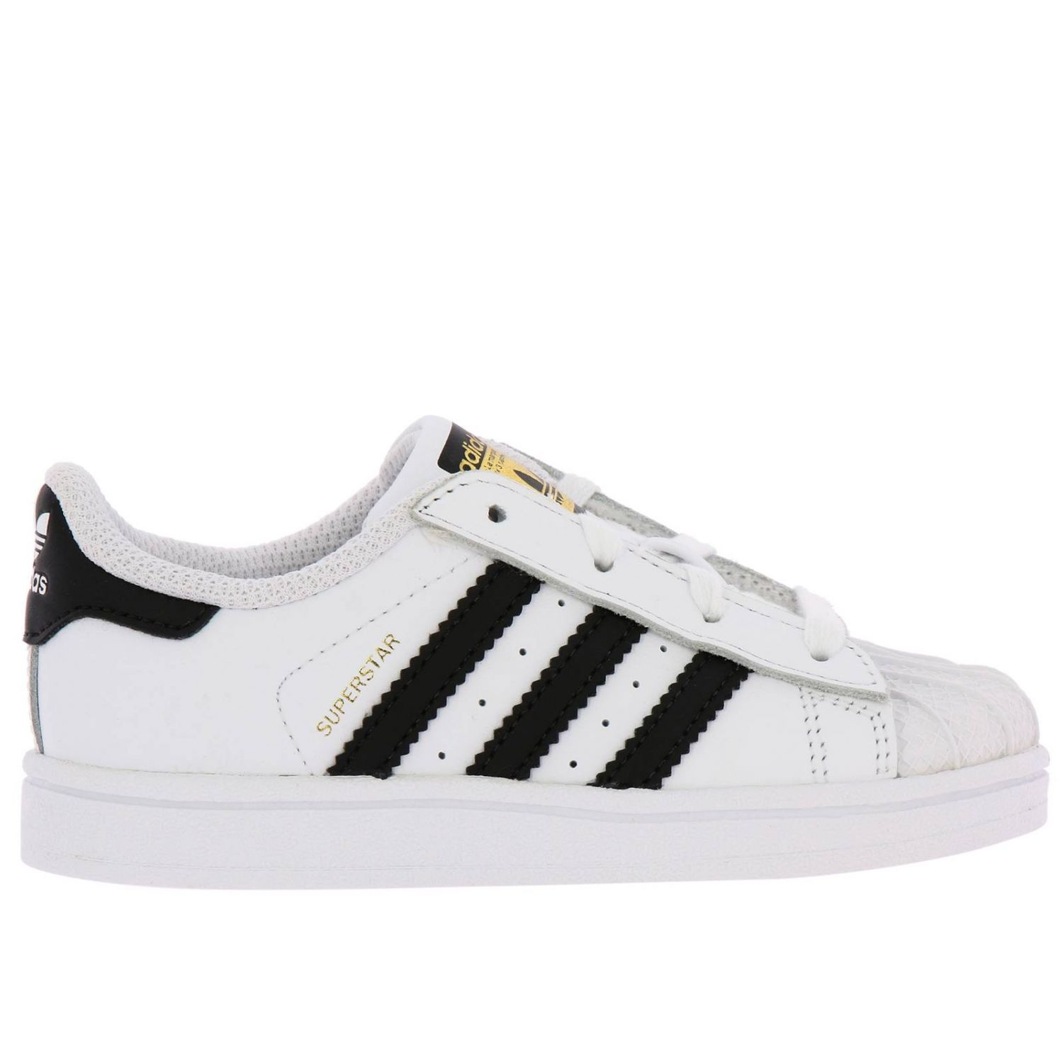 Adidas Originals Superstar Sneakers in leather with 3 contrasting stripes white 1
