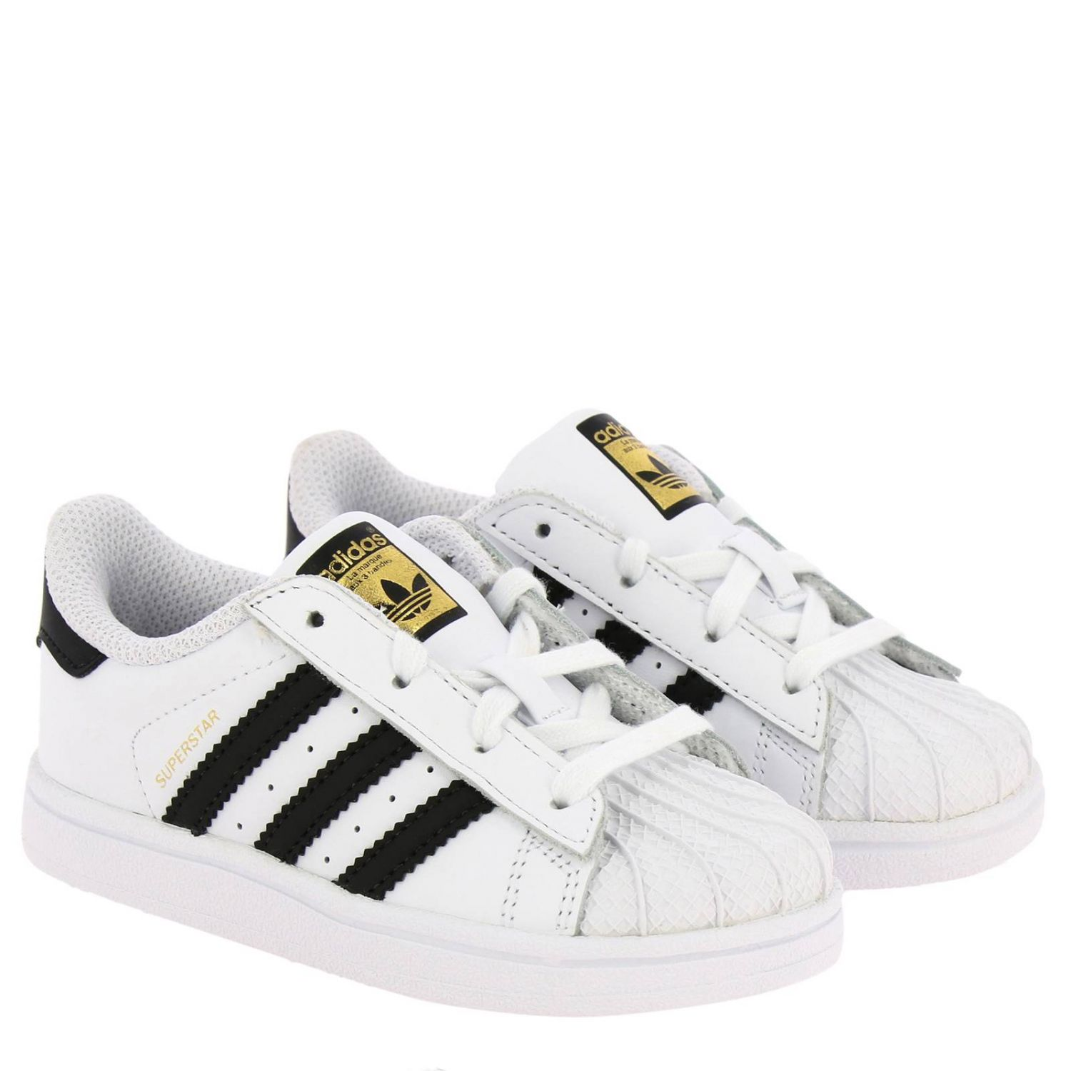 Adidas Originals Superstar Sneakers in leather with 3 contrasting stripes white 2