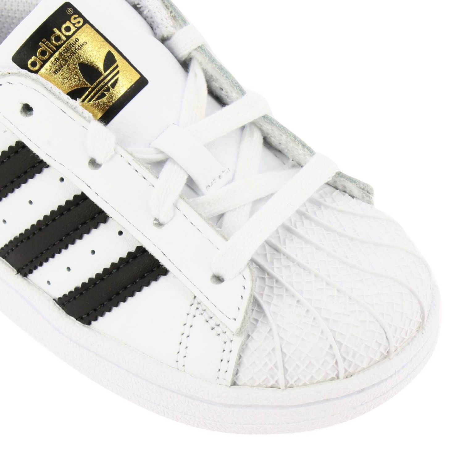 Adidas Originals Superstar Sneakers in leather with 3 contrasting stripes white 3