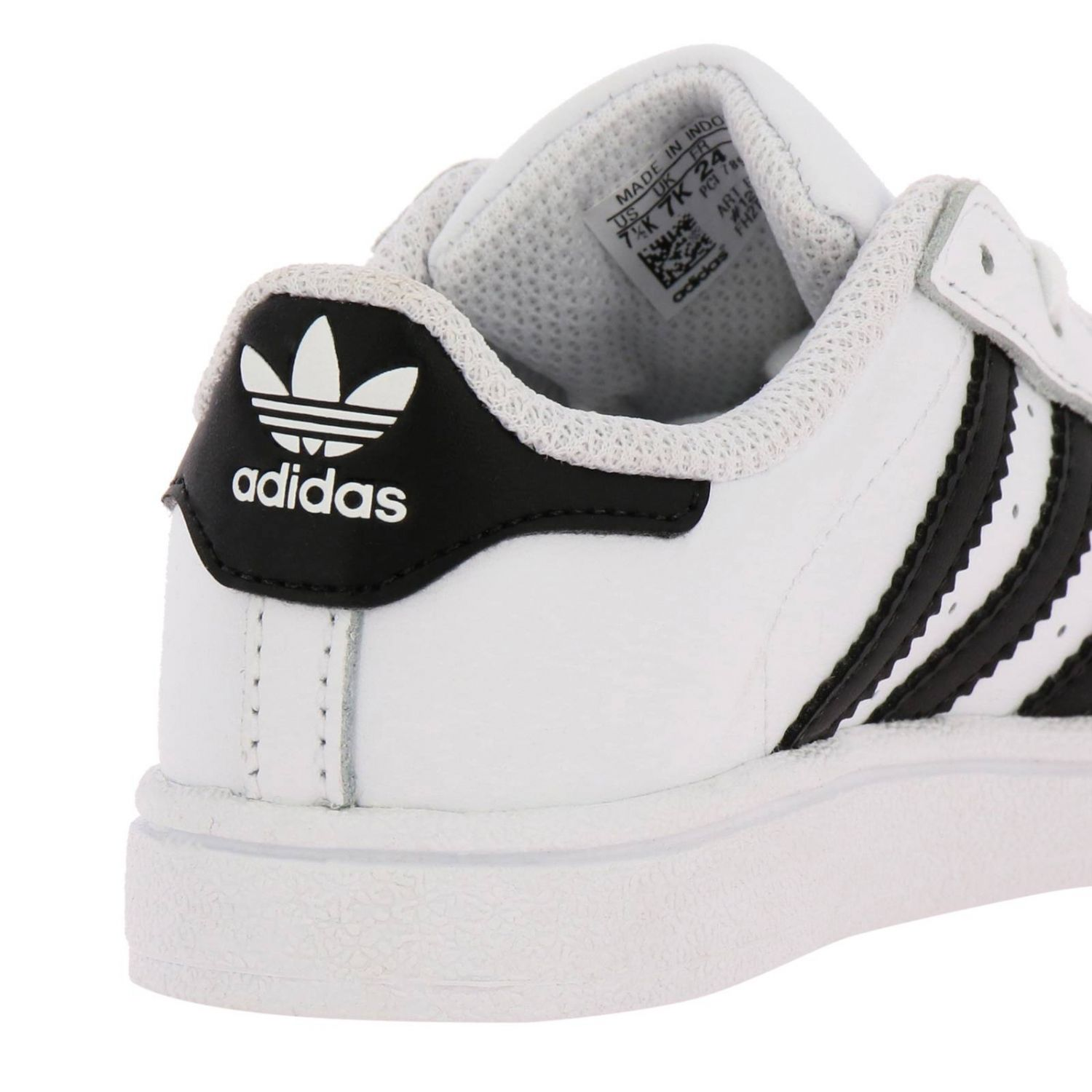 Adidas Originals Superstar Sneakers in leather with 3 contrasting stripes white 4