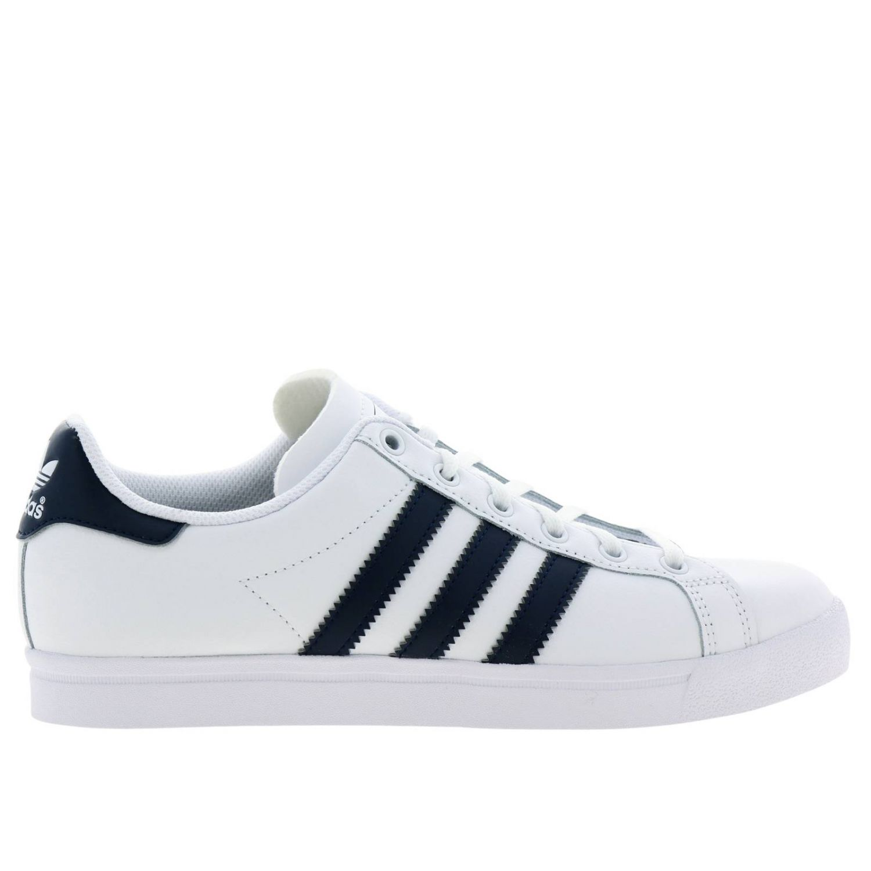鞋履 Adidas Originals: Adidas Originals Coast star J 真皮对比色条纹运动鞋 白色 1