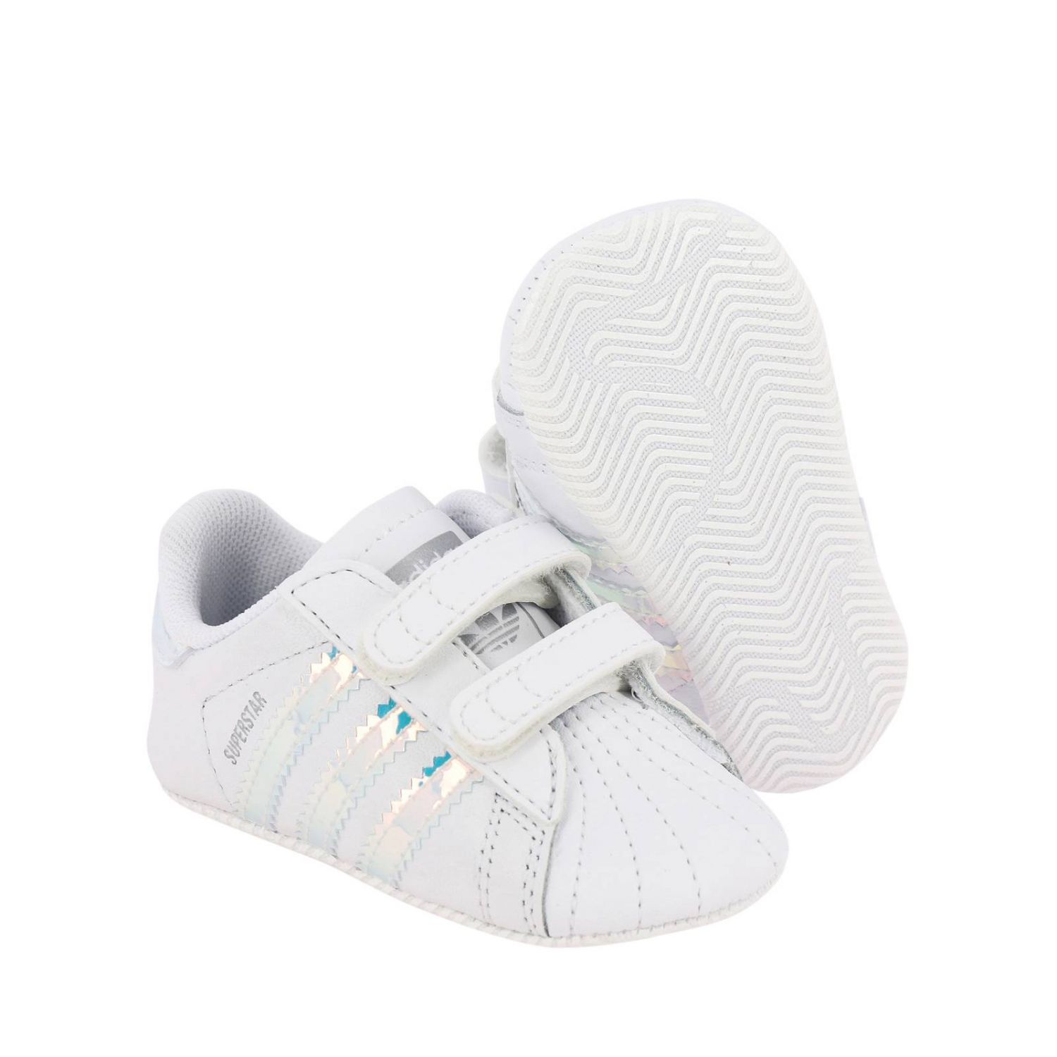 Superstar Crib Adidas Originals sneakers in leather with mirrored trim white 2