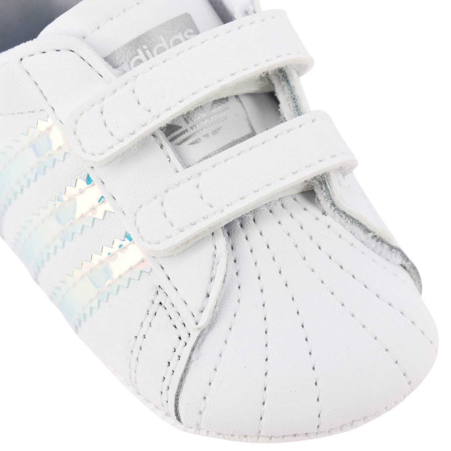 Superstar Crib Adidas Originals sneakers in leather with mirrored trim white 3