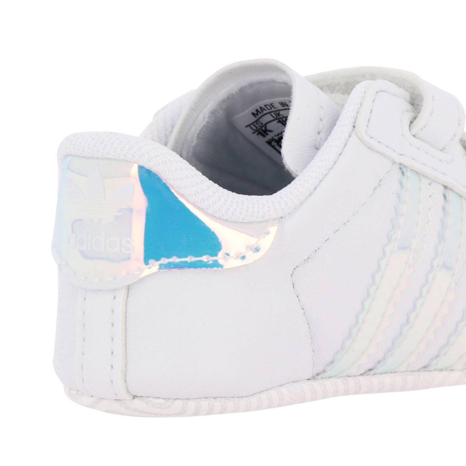 Superstar Crib Adidas Originals sneakers in leather with mirrored trim white 4