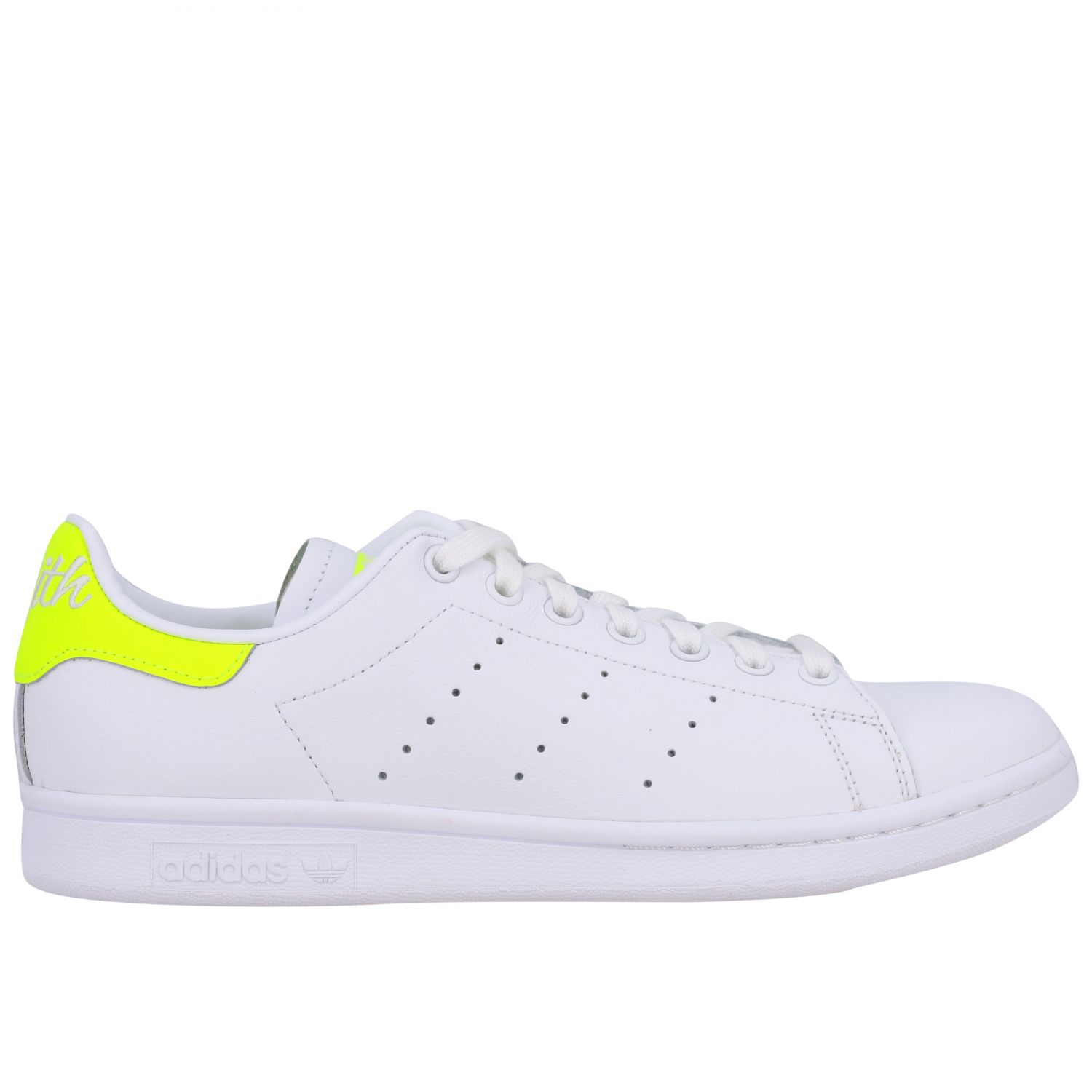 Sneakers Adidas Originals: Stan smith sneakers pelle tallone giallo ricamo bianco 1