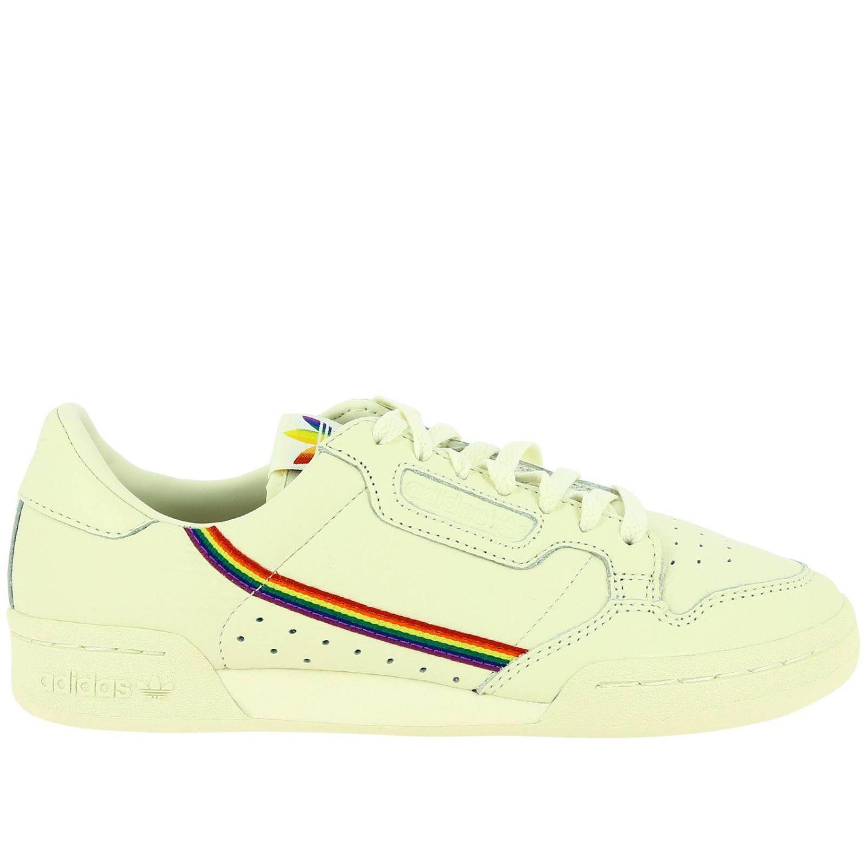 Sneakers Adidas Originals: Continental 80 Pride Adidas Originals Sneakers in leather with rainbow stripes and macro holes white 1