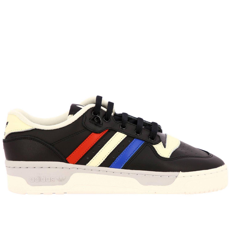 Zapatillas Adidas Originals: Zapatillas de deporte Rivalry Low Adidas Originals de cuero con rayas tricolores y agujeros macro negro 1