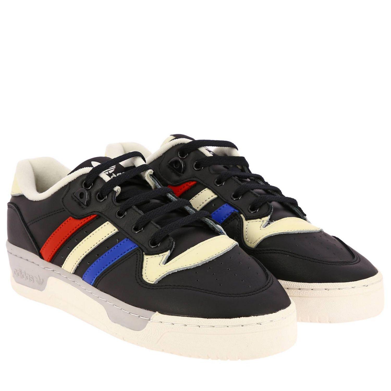 Zapatillas Adidas Originals: Zapatillas de deporte Rivalry Low Adidas Originals de cuero con rayas tricolores y agujeros macro negro 2