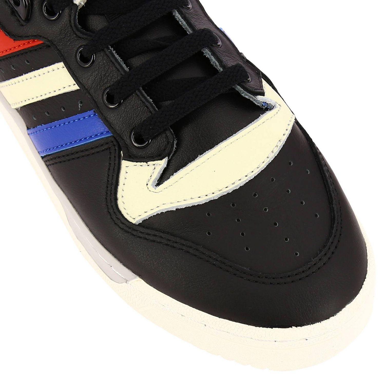 Zapatillas Adidas Originals: Zapatillas de deporte Rivalry Low Adidas Originals de cuero con rayas tricolores y agujeros macro negro 3