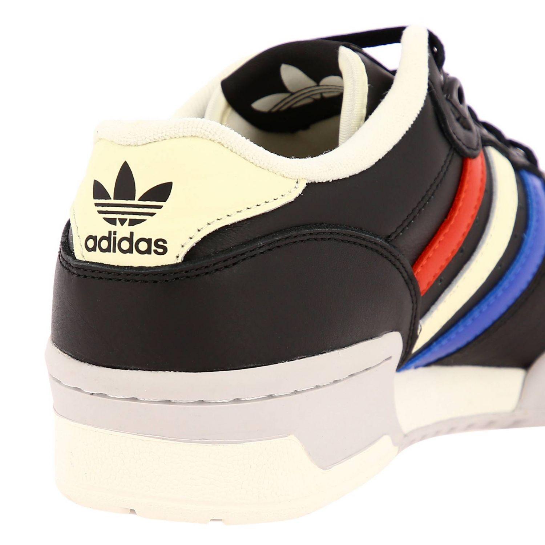 Zapatillas Adidas Originals: Zapatillas de deporte Rivalry Low Adidas Originals de cuero con rayas tricolores y agujeros macro negro 4