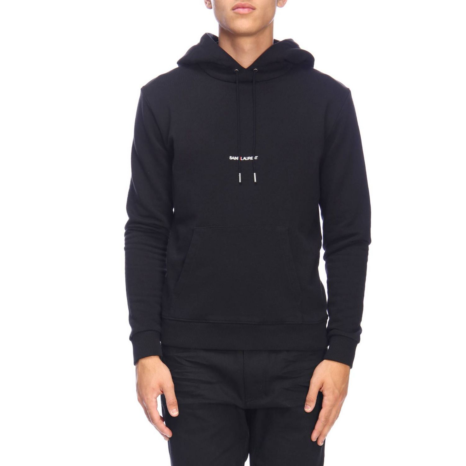 Basic sweatshirt with hood and micro Saint Laurent print black 1