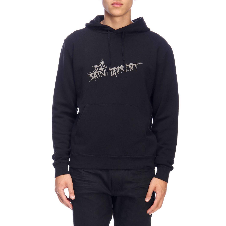 Basic sweatshirt with hood and Saint Laurent print with star black 1
