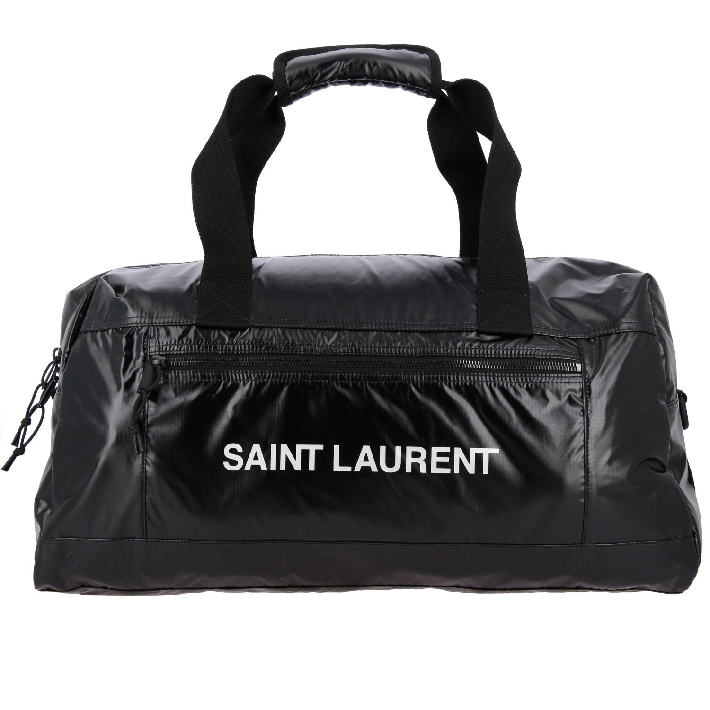 Sacca Saint Laurent extra large in nylon lucido con maxi logo nero 1