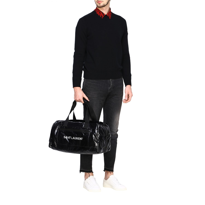 Sacca Saint Laurent extra large in nylon lucido con maxi logo nero 2