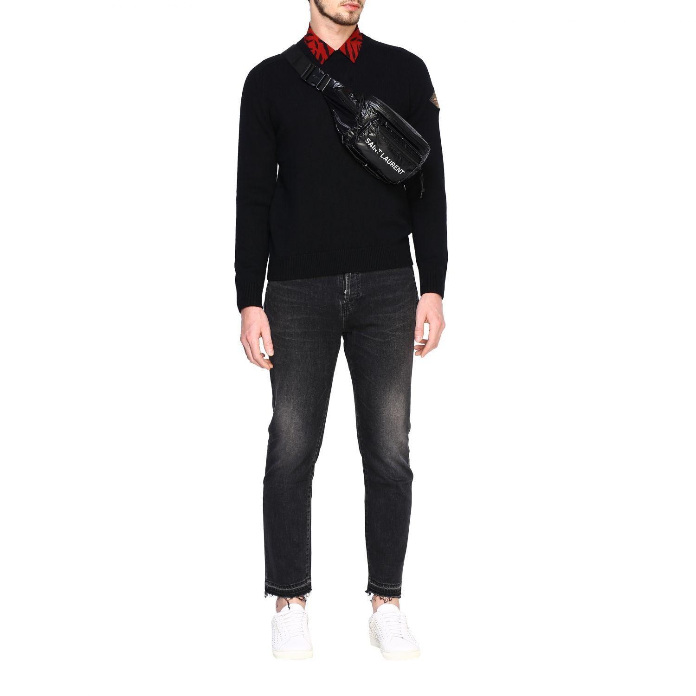 Sac Banane ceinture Saint Laurent en nylon brillant avec logo noir 2