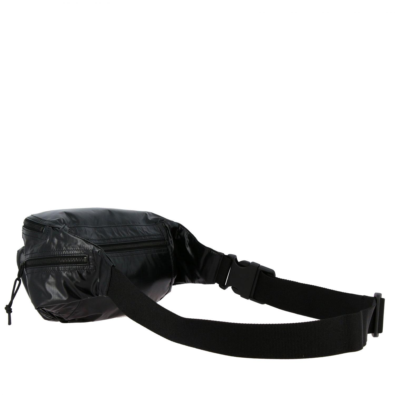 Sac Banane ceinture Saint Laurent en nylon brillant avec logo noir 3
