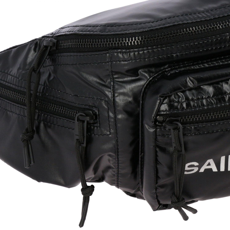 Sac Banane ceinture Saint Laurent en nylon brillant avec logo noir 4