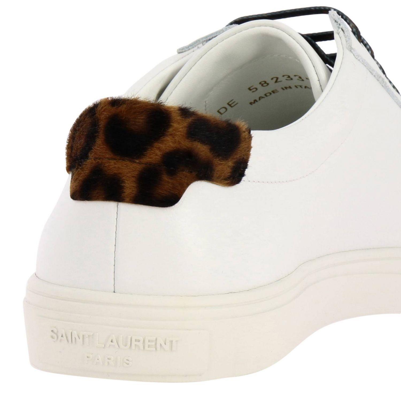 Sneakers Andy low Saint Laurent à lacets en cuir lisse avec logo