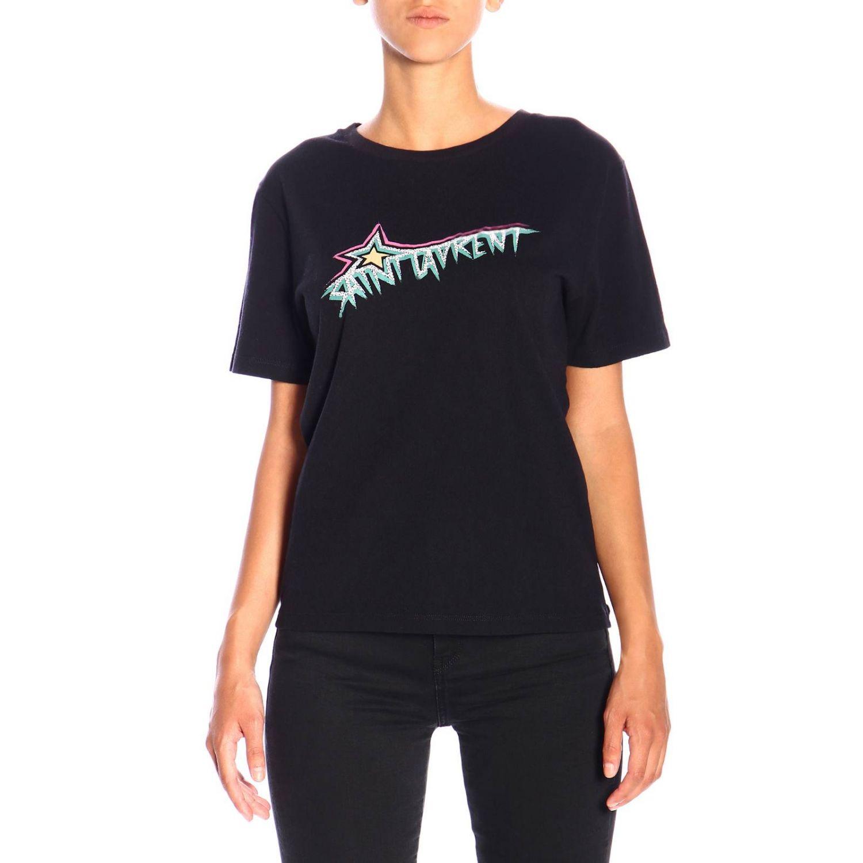 T-shirt a girocollo in jersey con logo Saint Laurent nero 1