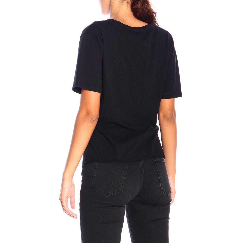 T-shirt a girocollo in jersey con logo Saint Laurent nero 3