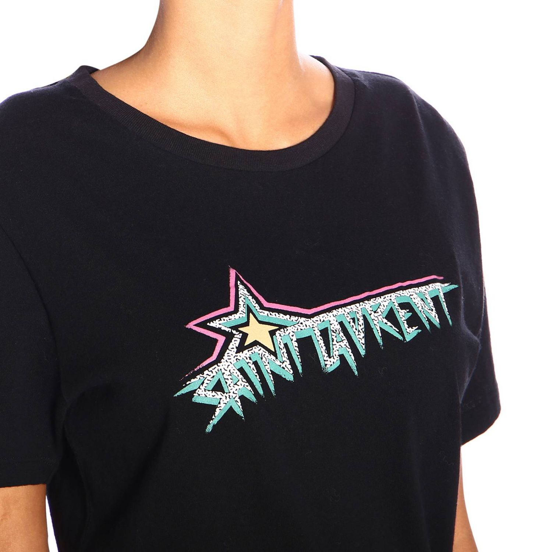 T-shirt a girocollo in jersey con logo Saint Laurent nero 4