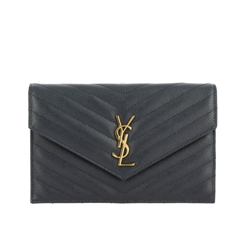 Borsa Monogram envelope chain wallet in pelle grain de poudre trapuntata con logo YSL Saint Laurent antracite 1