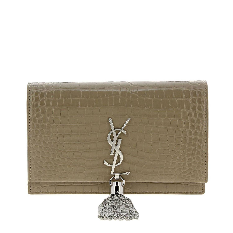 Kate Monogram YSL Handtasche aus echtem Leder mit Krokodildruck taubengrau 1