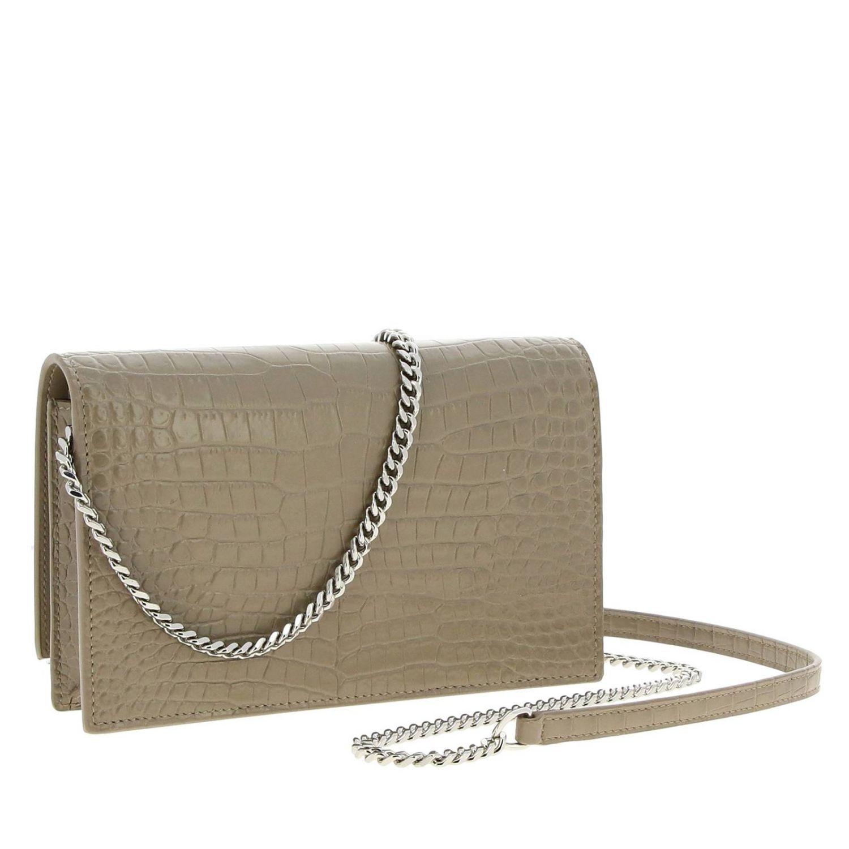 Kate Monogram YSL Handtasche aus echtem Leder mit Krokodildruck taubengrau 3