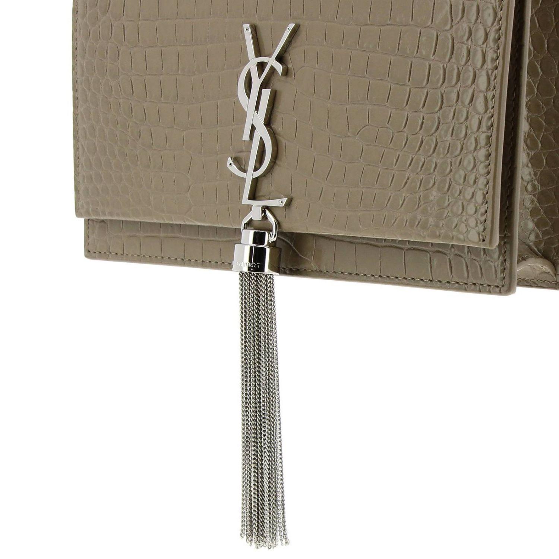 Kate Monogram YSL Handtasche aus echtem Leder mit Krokodildruck taubengrau 4