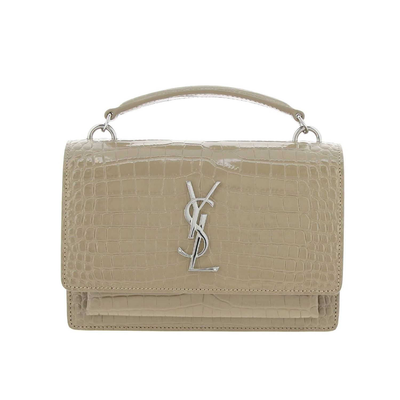 Mini bag Saint Laurent: YSL Sunset Monogram chain wallet genuine crocodile print leather bag dove grey 1