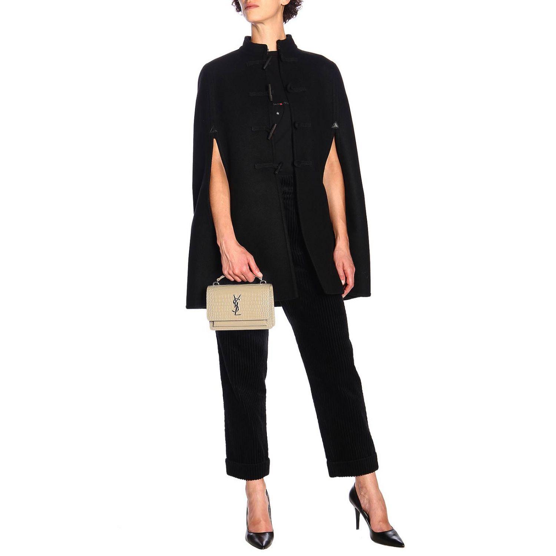 Mini bag Saint Laurent: YSL Sunset Monogram chain wallet genuine crocodile print leather bag dove grey 2