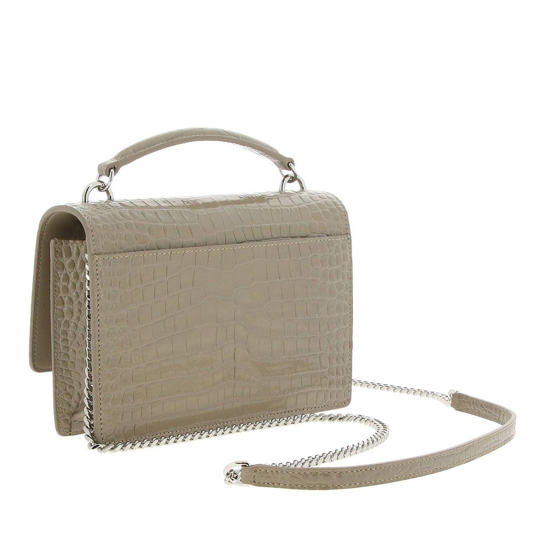 Mini bag Saint Laurent: YSL Sunset Monogram chain wallet genuine crocodile print leather bag dove grey 3
