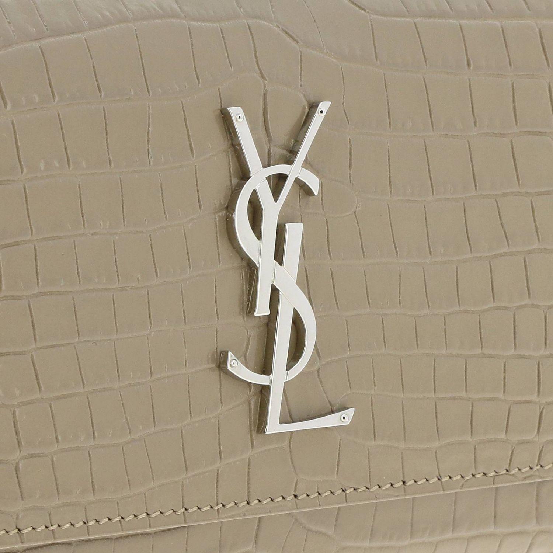 Mini bag Saint Laurent: YSL Sunset Monogram chain wallet genuine crocodile print leather bag dove grey 4