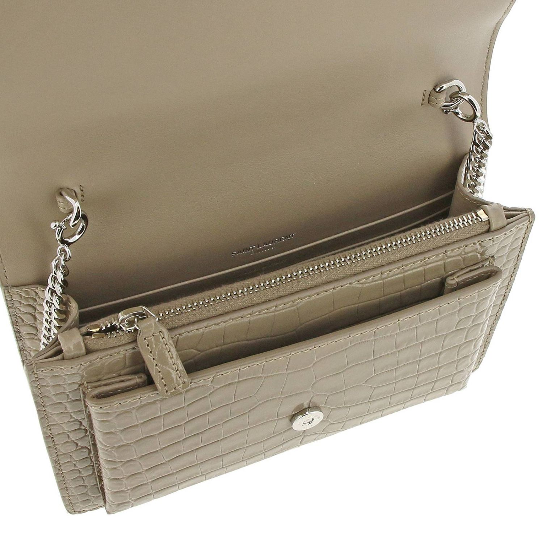 Mini bag Saint Laurent: YSL Sunset Monogram chain wallet genuine crocodile print leather bag dove grey 5