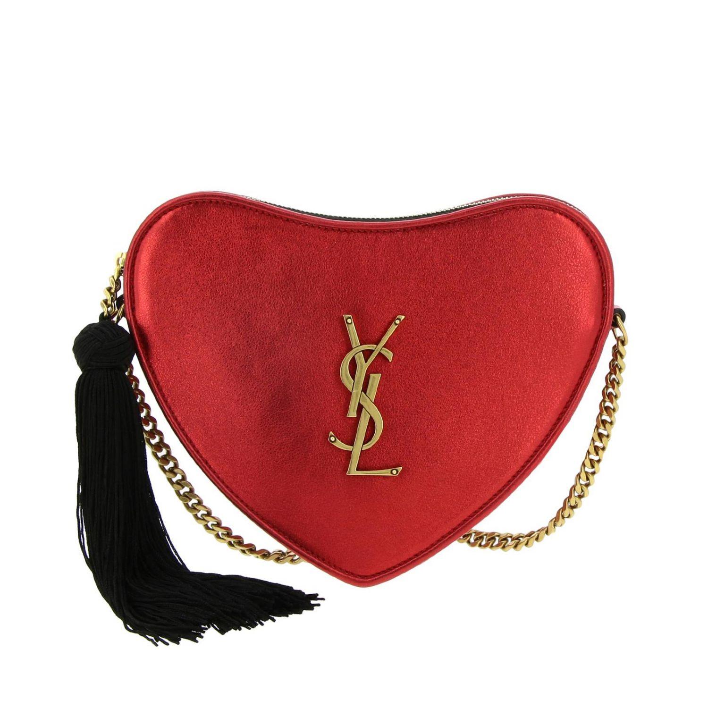 Mini bag Saint Laurent: Sac coeur Saint Laurent laminated leather bag with shoulder strap red 1