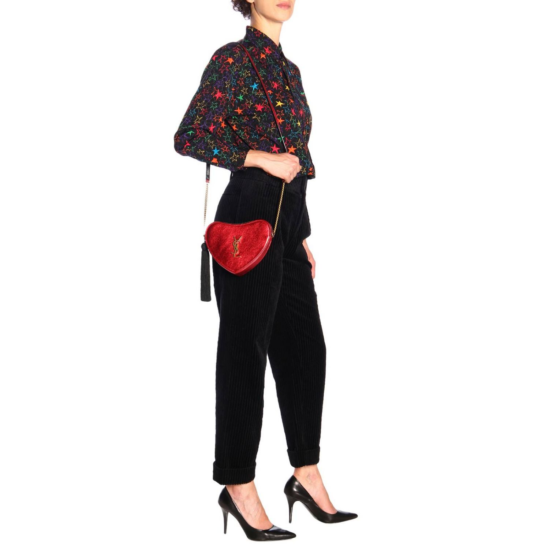 Mini bag Saint Laurent: Sac coeur Saint Laurent laminated leather bag with shoulder strap red 2