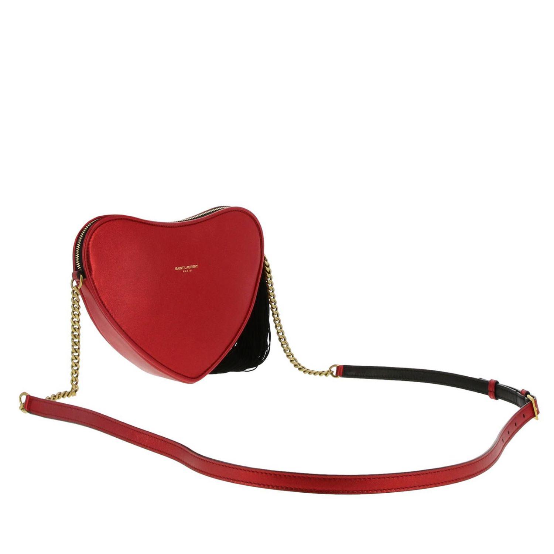 Mini bag Saint Laurent: Sac coeur Saint Laurent laminated leather bag with shoulder strap red 3