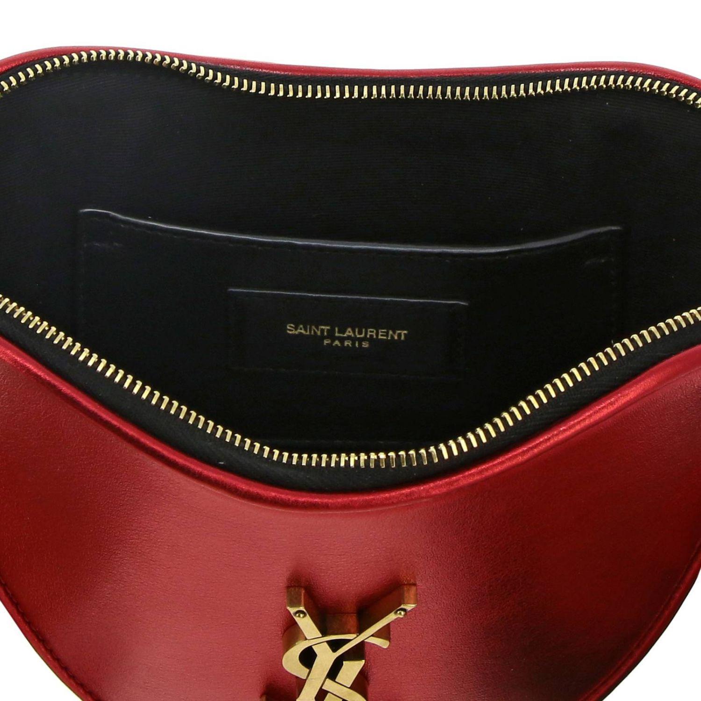 Mini bag Saint Laurent: Sac coeur Saint Laurent laminated leather bag with shoulder strap red 5