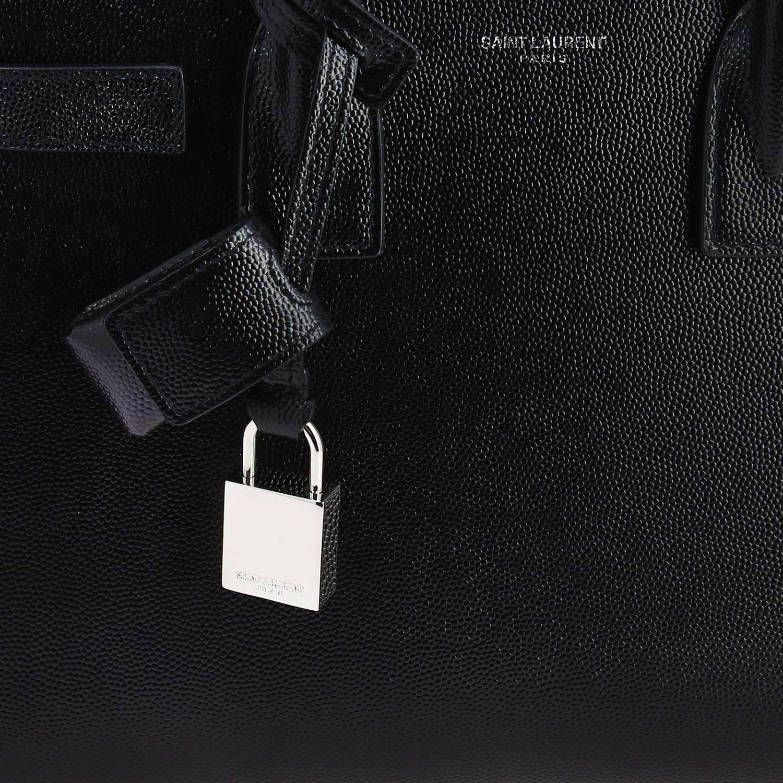 Borsa Sac De Jour baby Saint Laurent in pelle grain de poudre con tracolla amovibile nero 4