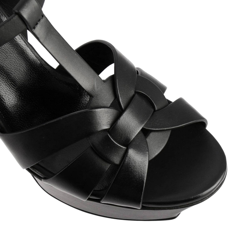 Sandales Saint Laurent Tribute en cuir noir 3