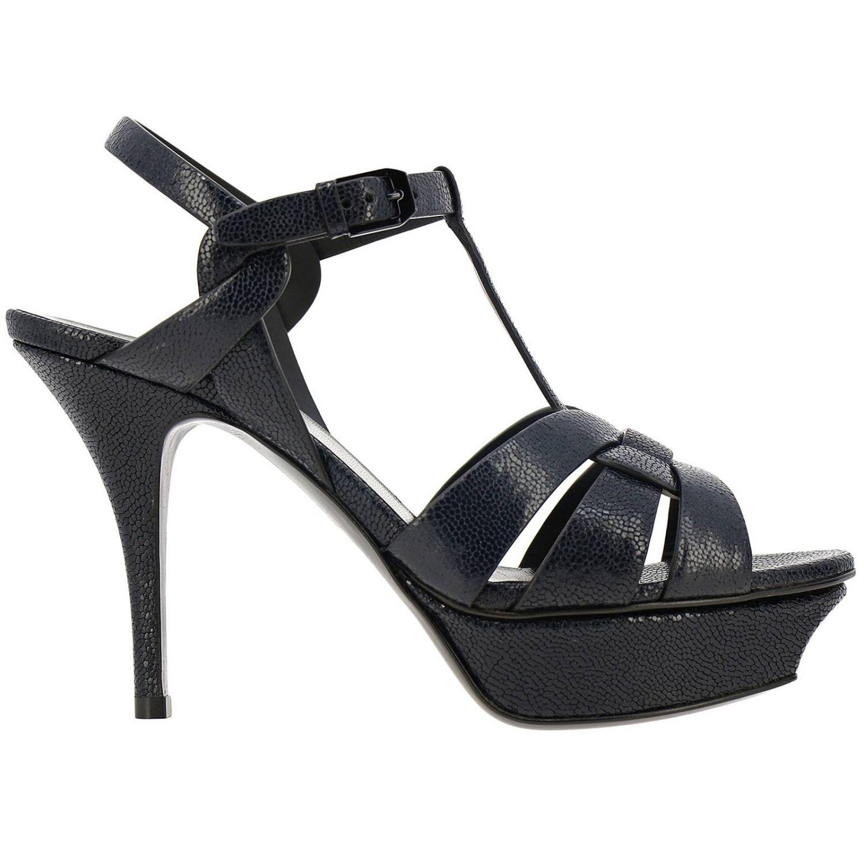 Saint Laurent Tribute sandals in grain de poudre leather with plateau blue 1