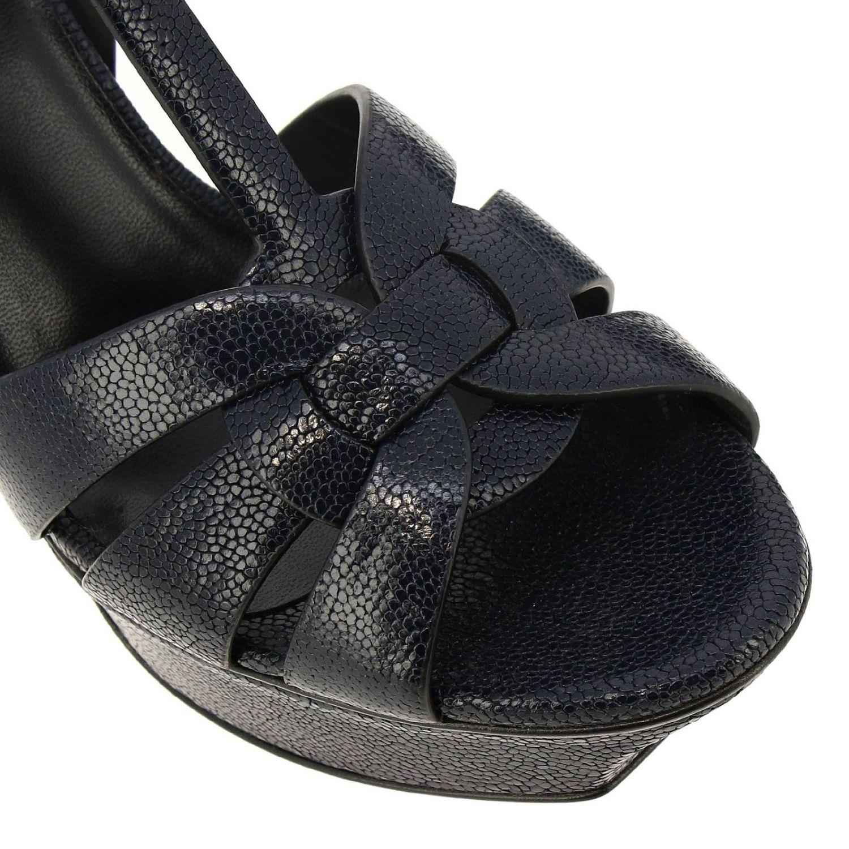 Saint Laurent Tribute sandals in grain de poudre leather with plateau blue 3