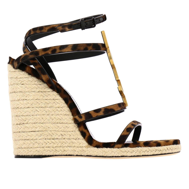 Saint Laurent Cassandra 凉鞋,采用动物纹马皮,配有YSL 棕色 1