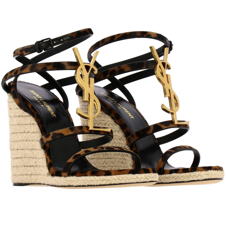 Saint Laurent Cassandra 凉鞋,采用动物纹马皮,配有YSL 棕色 2