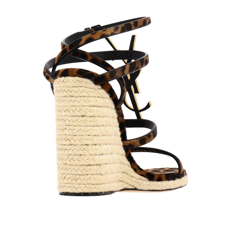 Saint Laurent Cassandra 凉鞋,采用动物纹马皮,配有YSL 棕色 4