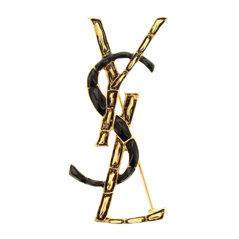 Spilla Monogram YSL in ottone e smalto con effetto coccodrillo oro 1